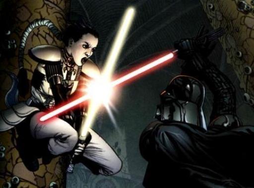 Le duel entre Vader et Morne