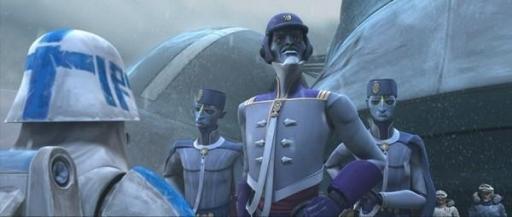 Le Président Pantoran Chi Cho et ses gardes du corps sur Orto Plutonia.