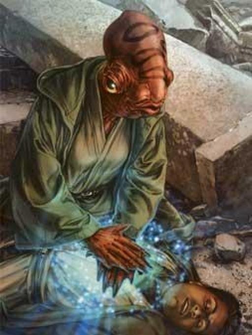 Cilghal pratiquant la Guérison Jedi