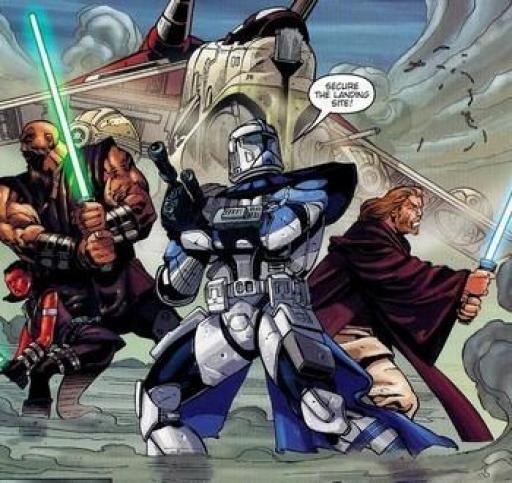 Alpha-17 entouré par les Maîtres Glaive et Obi-Wan Kenobi.