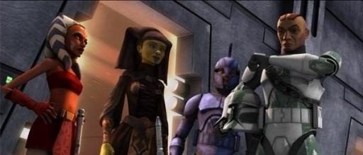 Le Commandant Gree aux côtés de Ahsoka Tano, Luminara Unduli et du Capitaine Argyus.