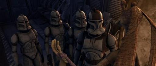 Trois clones de la Garde de Coruscant, sous les ordres du Commandant Stone, et le Représentant Binks.