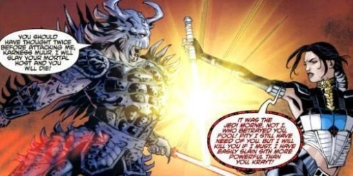 Le duel entre Darth Krayt et Celeste Morne