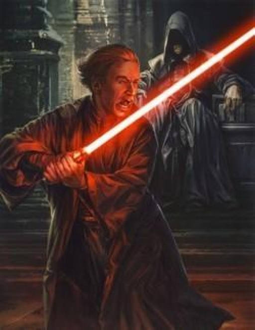 Darth Plagueis observe Darth Sidious.