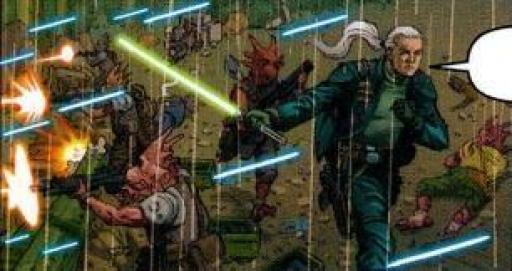 Jennir menant un nouveau combat contre les clones