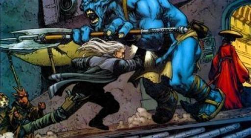 Jennir aux prises avec les gardes d'Orvax IV