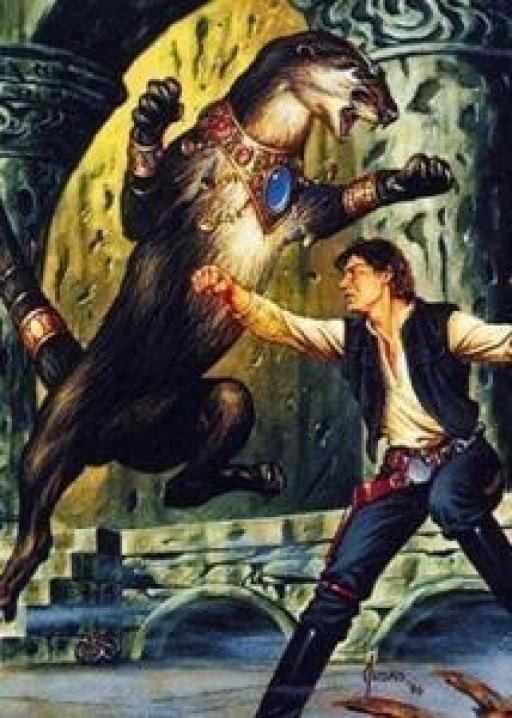 Dracmus fait semblant d'affronter Solo