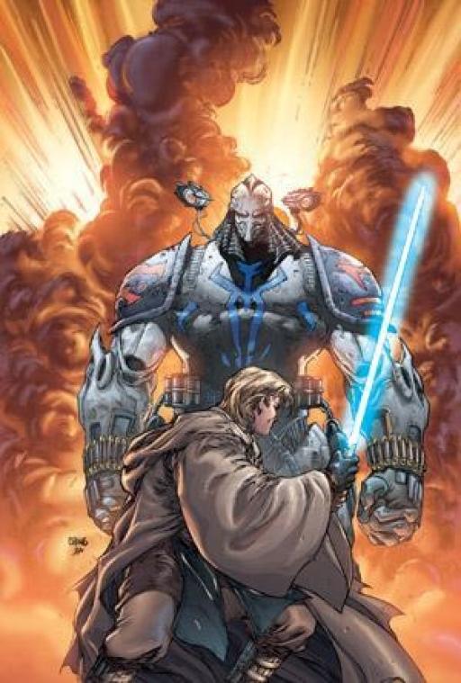 Durge affronte le Chevalier Jedi Anakin Skywalker.