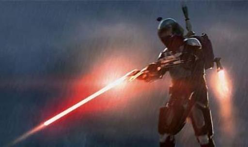 Jango Fett affronte le Chevalier Jedi Obi-Wan Kenobi sur Kamino.