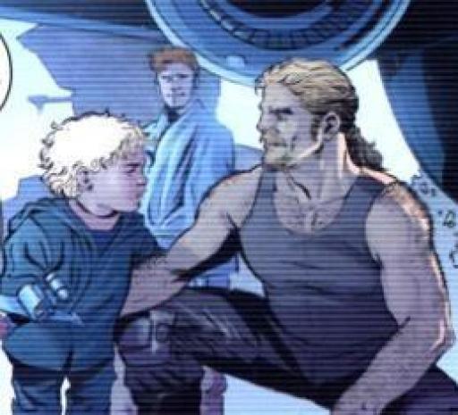 Nat Skywalker jouant avec son neveu