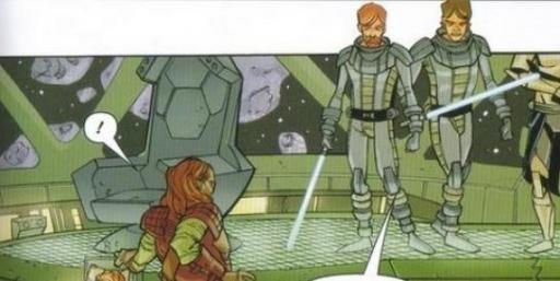 Le Capitaine Onyx face aux Généraux Kenobi et Skywalker sur le pont du Fate's Hand.