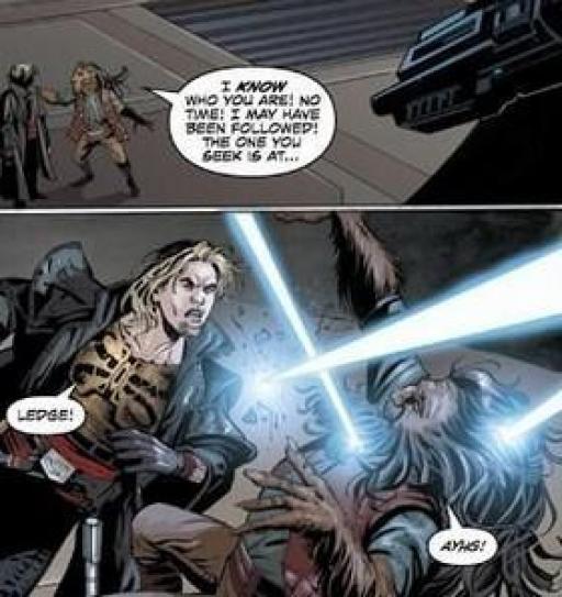 Pobos, mortellement touché par des Sith Impériaux.