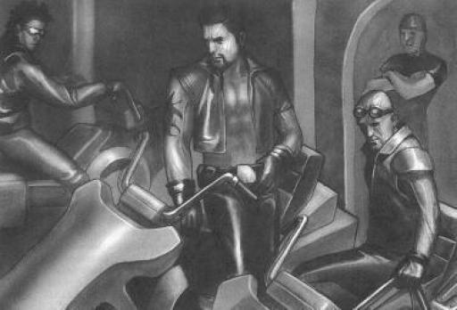 Radigan (au centre) accompagné de ses hommes