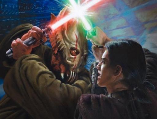 Premier duel entre Saes et son ancien Maître, Relin Druur