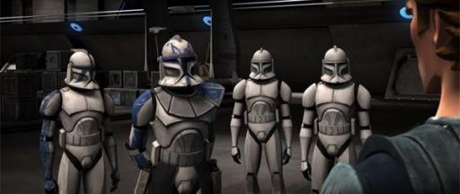 Denal, Rex et ses frères dans l'un des hangars du Resolute.