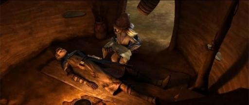 Wag Too prodiguant les premiers soins à Anakin Skywalker.