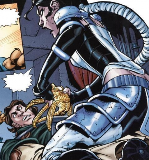 Celeste Morne tentant d'enlever le Talisman autour de Zayne