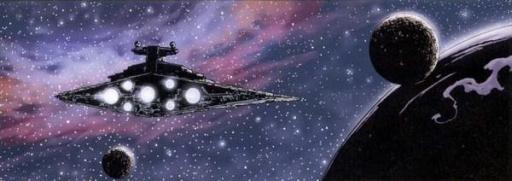 Le Star Destroyer Imperial I Mathayus approche de Dargulli.