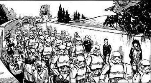 Les troupes impériales défilent devant les citoyens de Derilyn