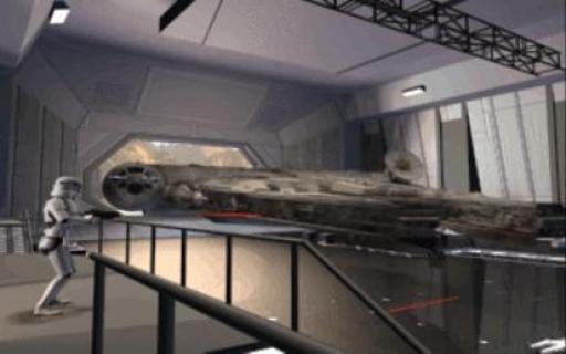 Le Corellia s'échappe du hangar sous le feu des Stormtroopers.