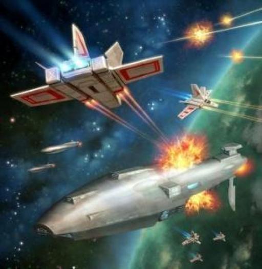 Croiseur Dauntless subissant les attaques d'un escadron de Toprilleurs XG-1