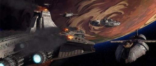 Le Star Destroyer Venator Defender face à la flotte du Capitaine Mar Tuuk.
