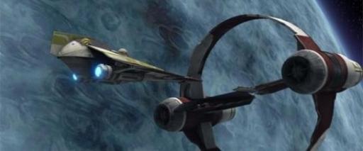 Kit Fisto dans son Delta-7B Aethersprite en orbite de Vassek.