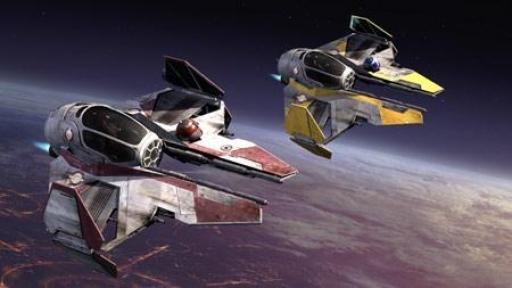 Les Intercepteurs Jedi d'Obi-Wan Kenobi et d'Anakin Skywalker.