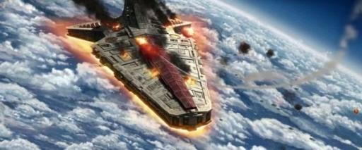Le Star Destroyer Venator Liberty de la Flotte de l'Open Circle en mauvaise posture.