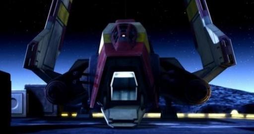 La navette Obex sur la lune de Rishi.