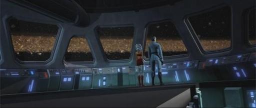 Ahsoka Tano et Yularen sur le pont de commandement du Resolute.