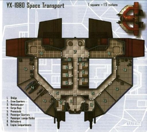 Schéma technique d'un Transport Spatial YX-1980.