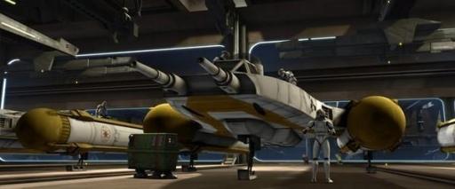 Des Y-Wings BTL-B stationnés dans un hangar du Star Destroyer Venator Resolute.