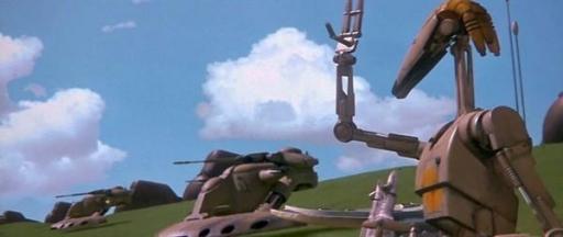 Le Droïde Commandant OOM-9 à la tête de ses CAB lors du Blocus de Naboo.