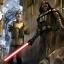 Le Général Crik aux côtés du Seigneur Noir de la Sith Darth Vader.