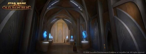 Un couloir exposant les hologrammes de grands Jedi du passé