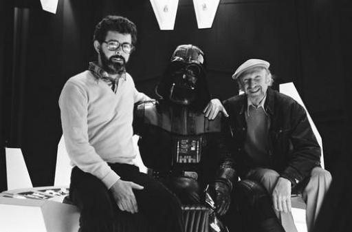 George Lucas, Darth Vader (David Prowse) et Irvin Kershner.
