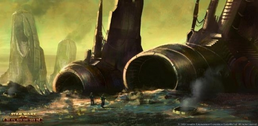 Concept-art du terrain pollué du monde Hutt