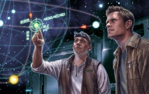 Deux explorateurs devant une image holographique d'une planète : incarnation de Jason Fry (gauche) et Daniel Wallace (droite)