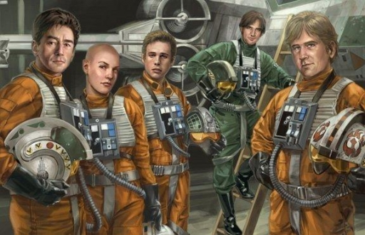 L'Escadron Rogue, de gauche à droite : Wedge Antilles, Plourr Ilo, Derek 'Hobbie' Klivian, Corran Horn et Tycho Celchu